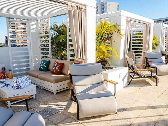 Private Cabanas at Art Ovation Hotel, Autograph Collection at Sarasota, Florida