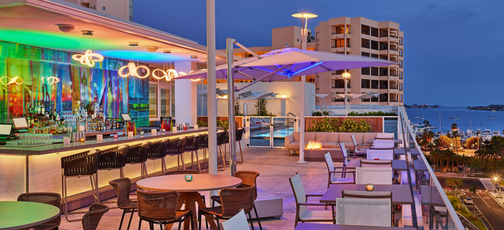 Perspective Rooftop Pool Bar of Art Ovation Hotel, Autograph Collection at Sarasota, Florida